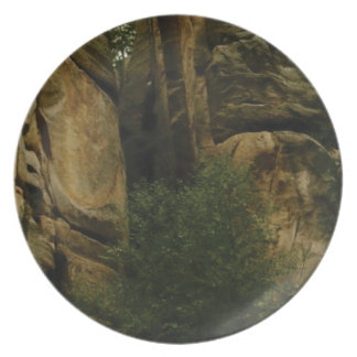 yellow rock face with trees plate