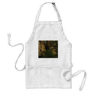 yellow rock face with trees standard apron
