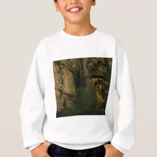 yellow rock face with trees sweatshirt