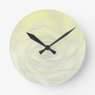 Yellow Rose Abstract Round Clock