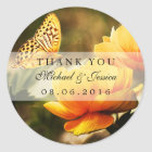 Yellow Rose and Butterfly Wedding Favour Stickers