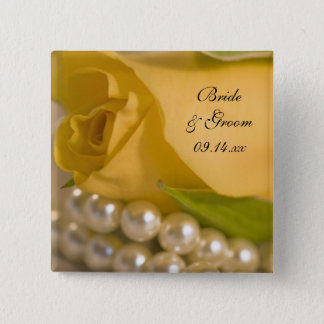 Yellow Rose and White Pearls Wedding 2 Inch Square Button