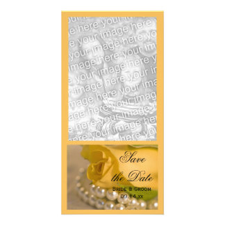 Yellow Rose and White Pearls Wedding Save the Date Personalized Photo Card