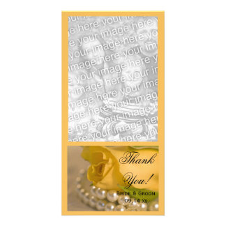 Yellow Rose and White Pearls Wedding Thank You Photo Greeting Card