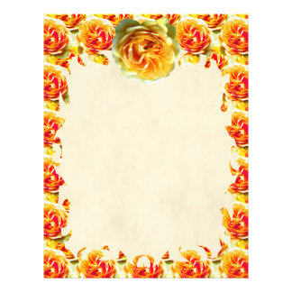 Yellow Rose Bloom Flame Letterhead