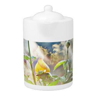 Yellow Rose Bud Tea Pot