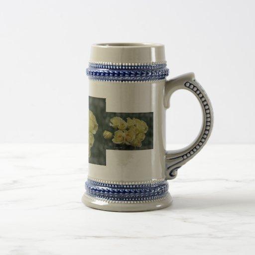Yellow rose bunch, dark background coffee mugs