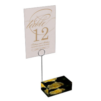 Yellow Rose Card Holder Table Card Holder