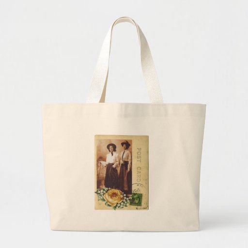 Yellow Rose Cowgirl Postcard Vintage Photo Collage Tote Bag