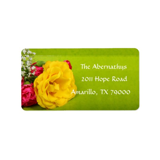 Yellow Rose Floral Address Label