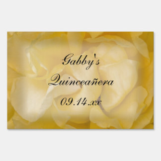 Yellow Rose Floral Quinceañera Sign