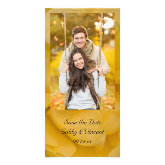 Yellow Rose Floral Wedding Save the Date Photo Cards