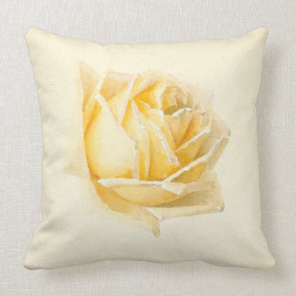 Yellow Rose Flower Painting Throw Pillow