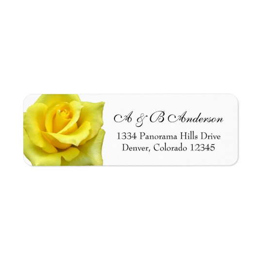 Yellow Rose Flower Wedding Return Address Label