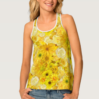 Yellow Rose Friendship Bouquet Gerbera Daisy Tank Top