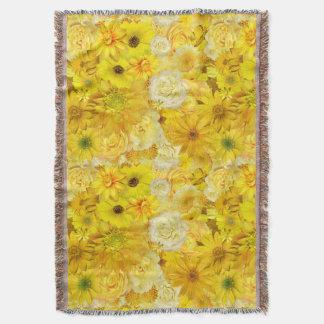 Yellow Rose Friendship Bouquet Gerbera Daisy Throw Blanket