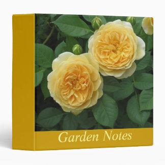 Yellow Rose Garden Notes 3 Ring Binders