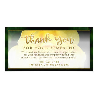 Yellow Rose Golden Thank You Sympathy Card