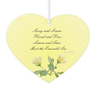 Yellow Rose  Heart Air Freshener