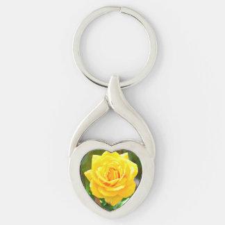 Yellow Rose Heart Key Chain