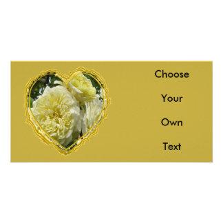 Yellow Rose Heart Photo Greeting Card