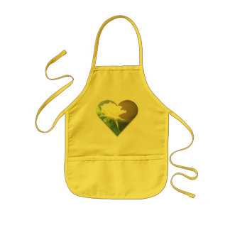 Yellow Rose in a Heart Kids Apron