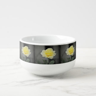 Yellow Rose In Black Soup Bowl