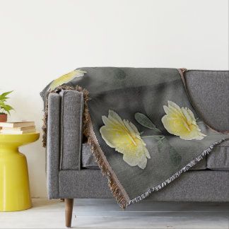 Yellow Rose in Black Throw Blanket