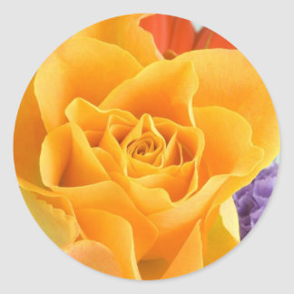 Yellow Rose In Bouquet Classic Round Sticker