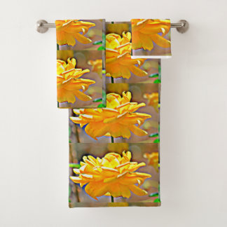 Yellow Rose in Chromatic Bath Towel Set