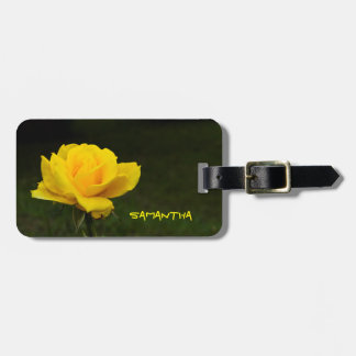 Yellow rose luggage tag