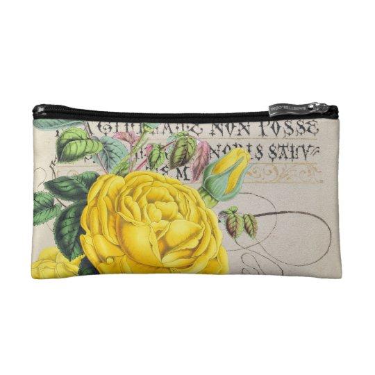 Yellow Rose Manuscript Cosmetic Bag