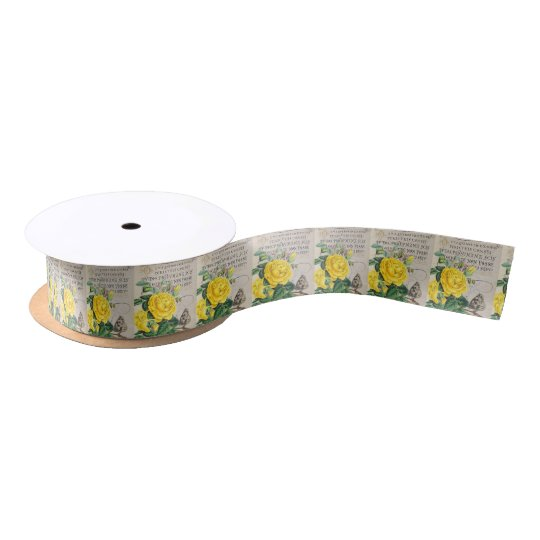 Yellow Rose Manuscript Satin Ribbon