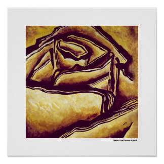 Yellow Rose Maze Abstract Floral MC Belkadi Poster
