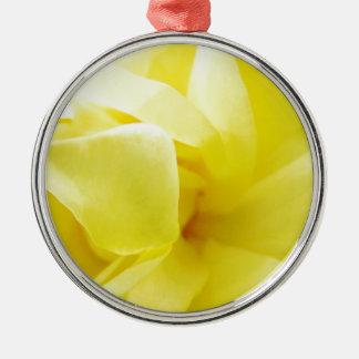Yellow Rose Metal Ornament