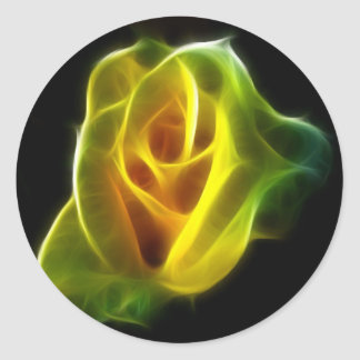 Yellow Rose of flames Classic Round Sticker