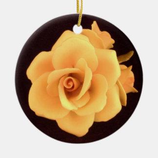 Yellow Rose on Black Ceramic Ornament