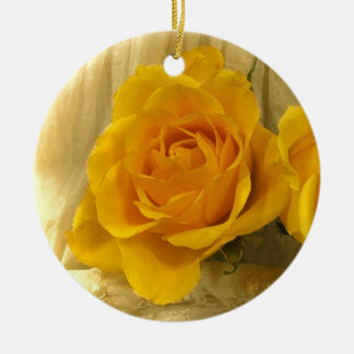 Yellow Rose on Lace Ceramic Ornament