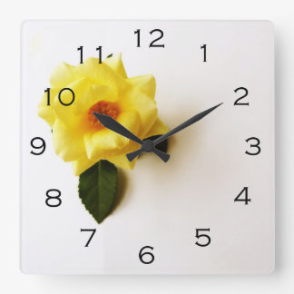 Yellow Rose On White Black Numbers Wall Clock