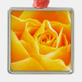 Yellow rose painted Silver-Colored square ornament