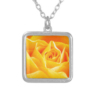 Yellow rose painted silver plated necklace