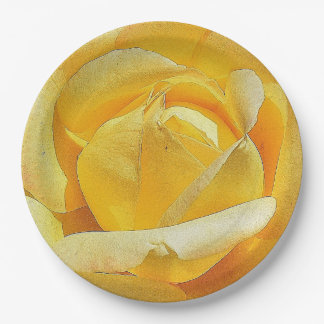 Yellow Rose Paper Plate