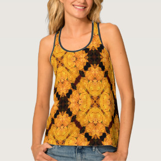 Yellow Rose Pattern Tank Top