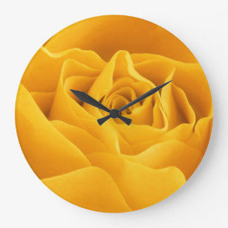 Yellow Rose Petals Large Clock