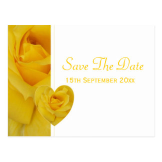 Yellow Rose Save The Date Postcard