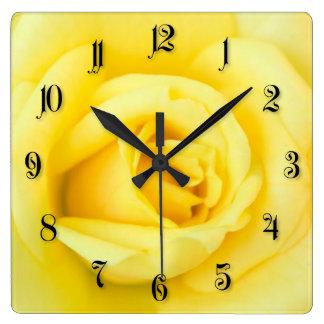 Yellow rose square wall clock