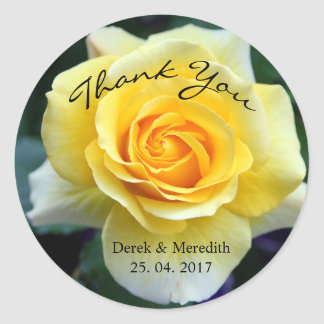Yellow Rose Thank You Classic Round Sticker