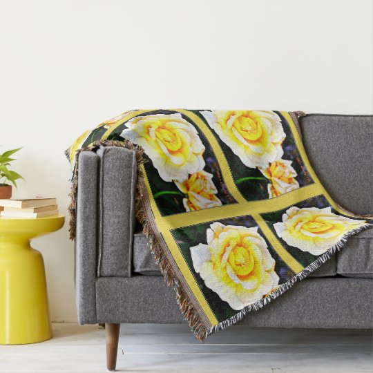 Yellow Rose Throw Blanket