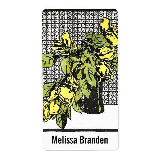 "Yellow Rose Vase, 2""l x 3.75""w Ex Libris Bookplate Shipping Label"