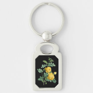 Yellow Rose vintage botanical illustration Silver-Colored Rectangle Keychain